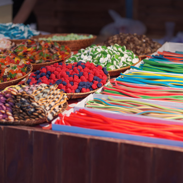 """Colorful Sweets Stand"" stock image"