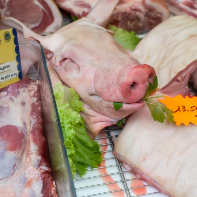 """Pig's head on a butcher's counter"" stock image"