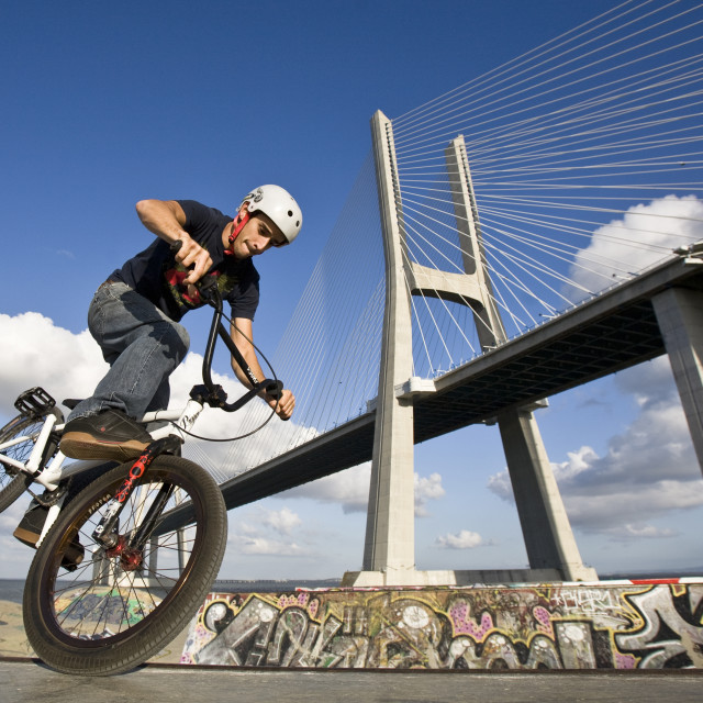 """BMX rider in Lisbon"" stock image"
