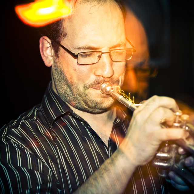 """""""The trumpet player from Los Cubos, in Lisbon"""" stock image"""