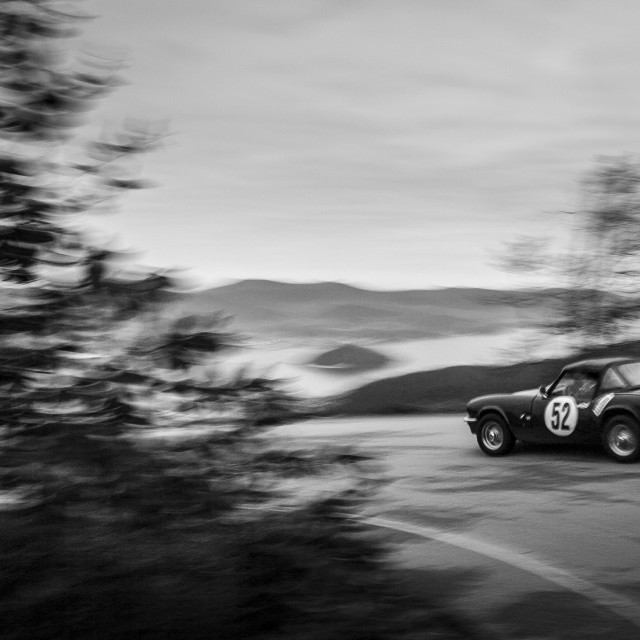 """A vintage car in a rally race in Galicia, Spain."" stock image"