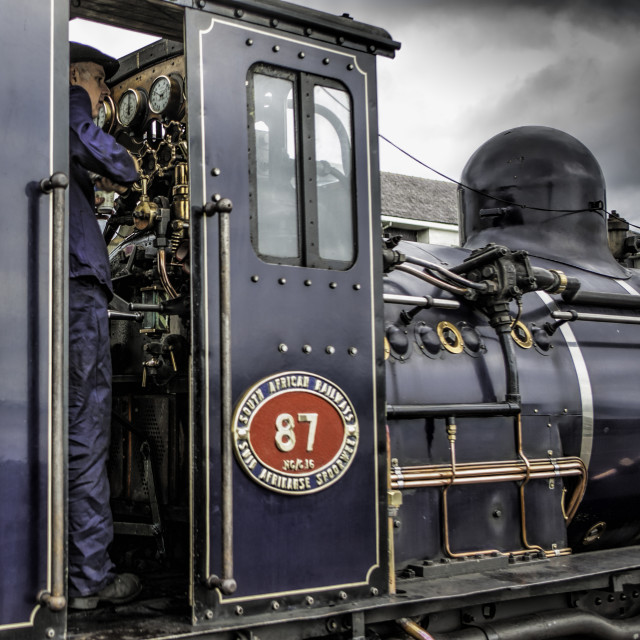 """Welsh Highland Railway on the footplate"" stock image"