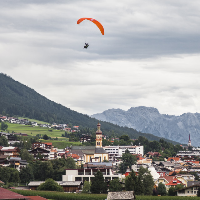 """Paraglider Comes In For Landing In Fulpmes, Austria"" stock image"