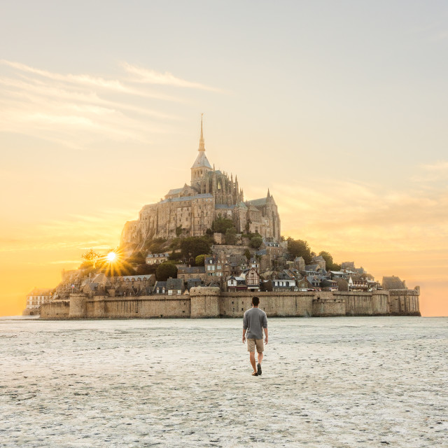 """Mont Saint-Michel Sunset In Normandy, France"" stock image"