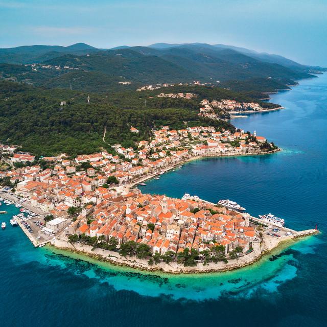 """Korcula town on Korcula Island, Croatia | Aerial"" stock image"