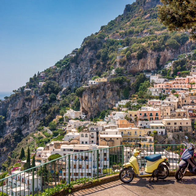 """Positano Scooters, Amalfi Coast, Italy"" stock image"