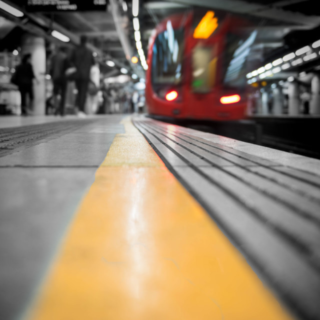 """On the yellow line"" stock image"