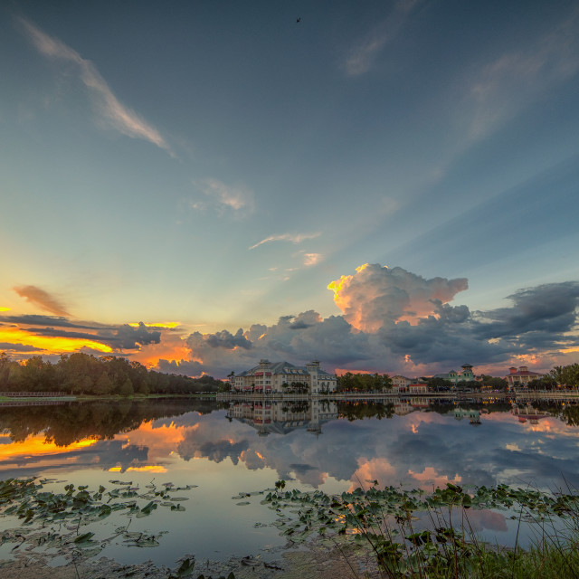 """Sunset Storm Over Celebration Florida"" stock image"