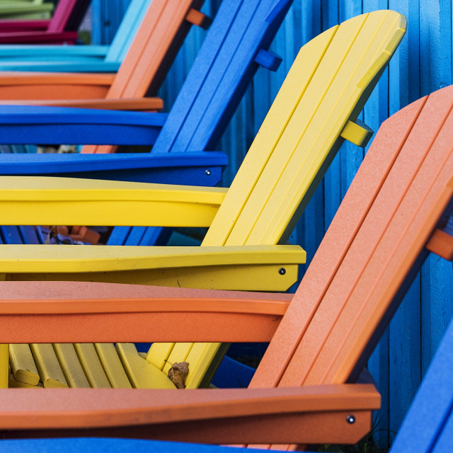"""""""Colorful Adirondack deck chairs."""" stock image"""
