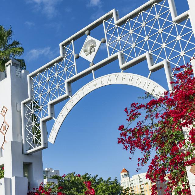 """The Sarasota Bayfront entrance , Florida, USA."" stock image"