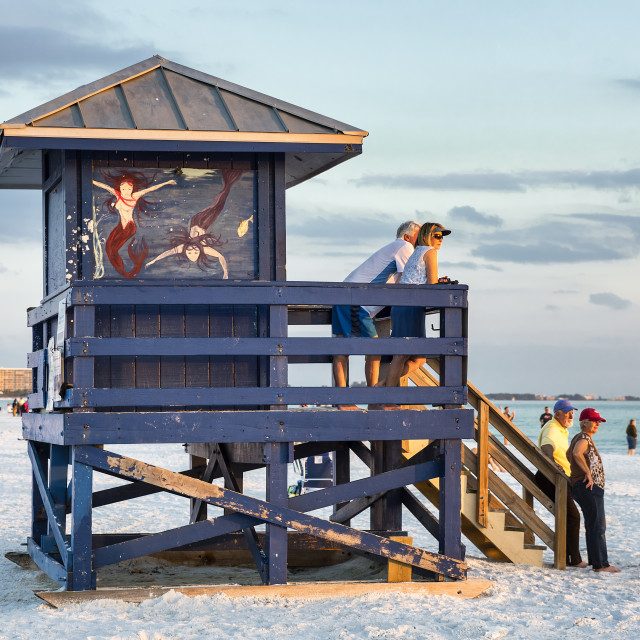 """Tourists enjoy sunset view at Siesta Key Beach, Florida, USA."" stock image"
