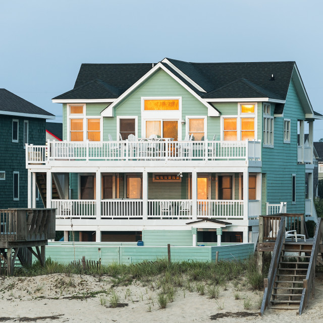 """Waterfront Beach house, Nags Head, OBX, Outer Banks, North Carolina, USA."" stock image"