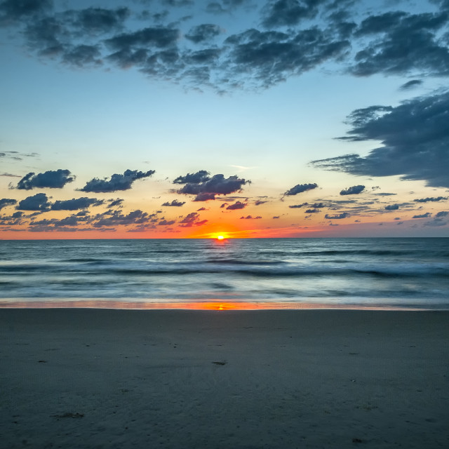 """Ocean sunrise, Outer Banks, North Carolina, USA."" stock image"