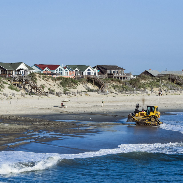 """Rebuilding eroded beach, Nags Head, Outer Banks, North Carolina, USA."" stock image"