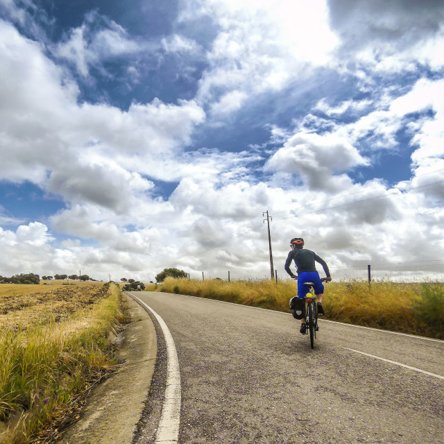 """Touring cyclist in Alentejo"" stock image"