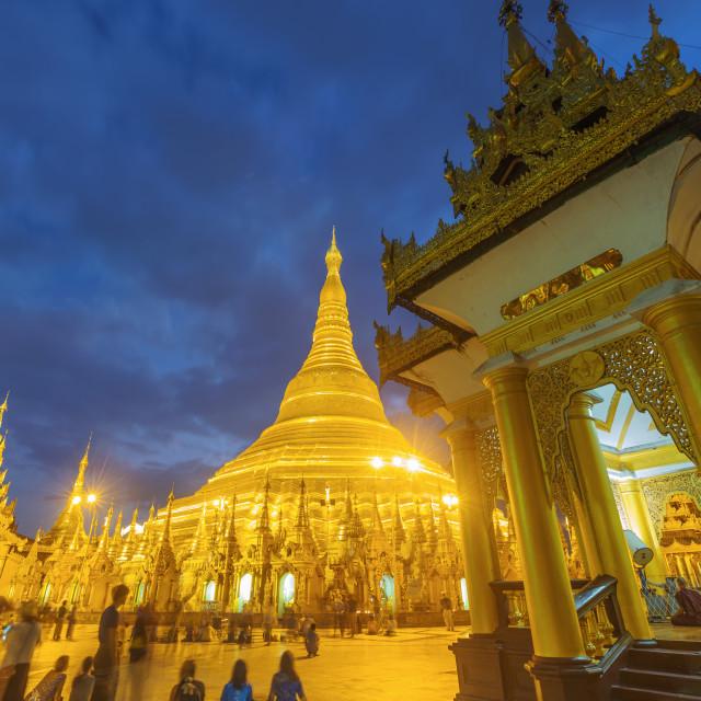 """""""Shwedagon Pagoda at night"""" stock image"""