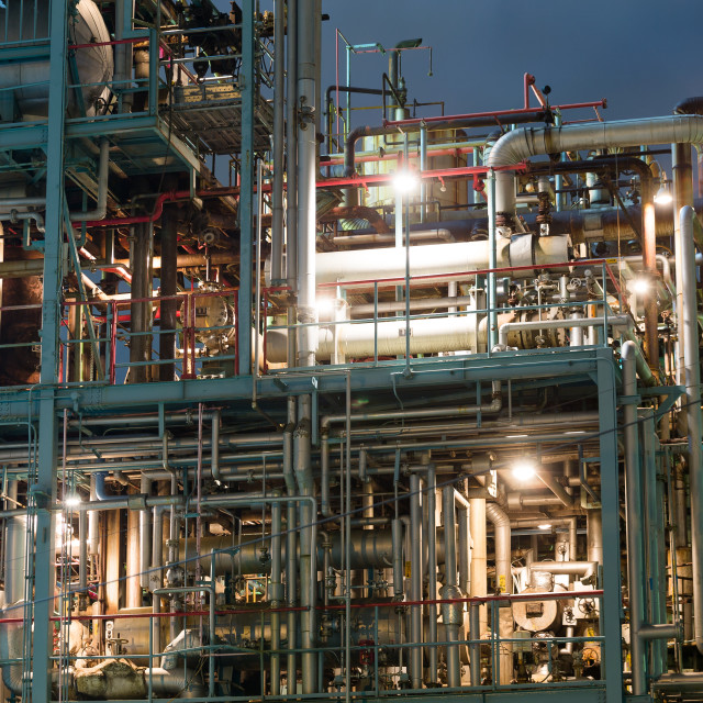 """Oil and gas industry at night"" stock image"