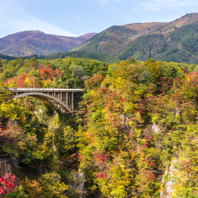 """Bridge passing though Naruko Gorge in autumn"" stock image"