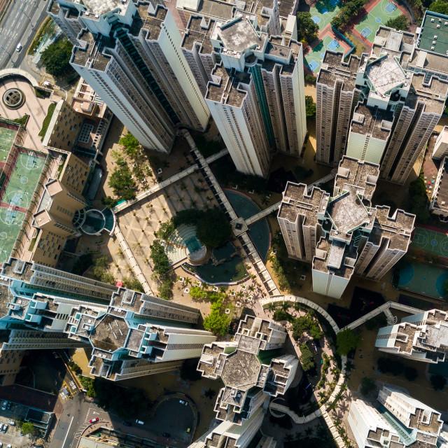 """Top view of hong kong down town"" stock image"