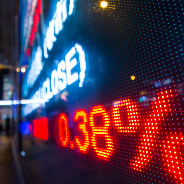 """Stock market display board at street"" stock image"