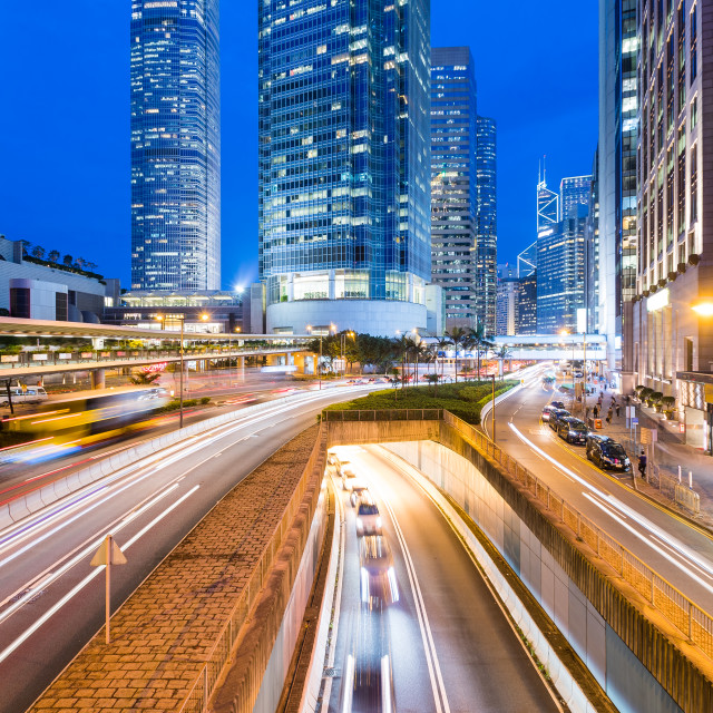 """Hong Kong traffic at night"" stock image"