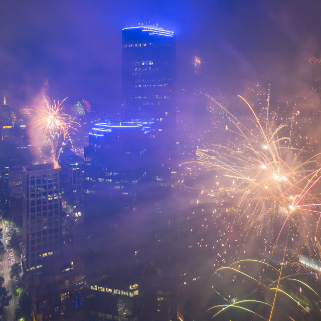 """New Year Eve Fireworks Dispplay at Melbourne CBD"" stock image"