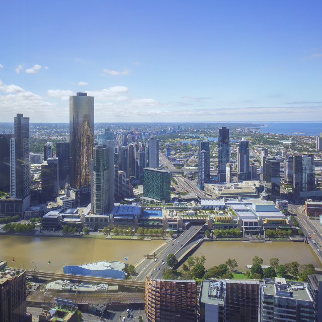 """Aerial view of Melbourne city CDB skyline"" stock image"