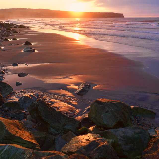 """Evening Light at Whitby"" stock image"