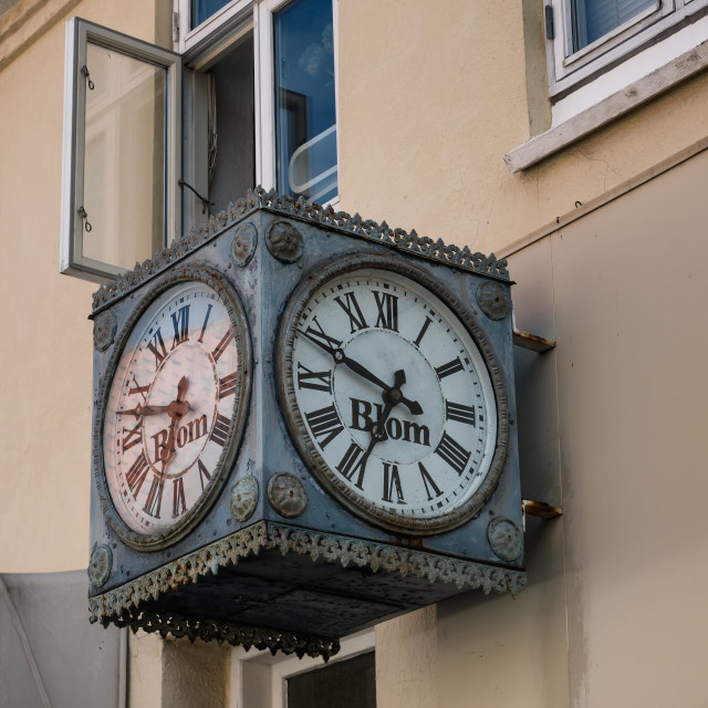 """""""Traditional watchmaker sign in Ebeltoft, Denmark"""" stock image"""