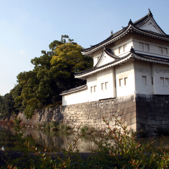 """Moat and a tower of the Imperial Palace in Kyoto city, Japan."" stock image"