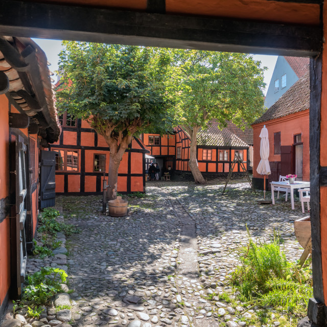 """""""Old streets and half timbered homes in Ebeltoft, Denmark"""" stock image"""