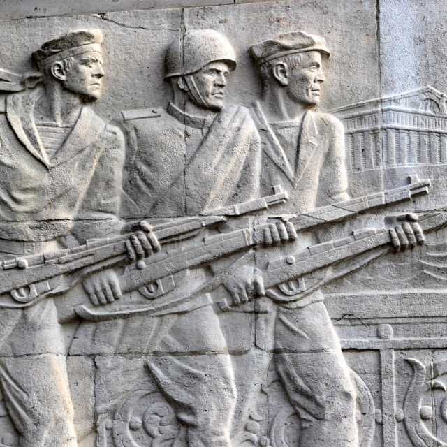 """Section of a frieze showing a worker, sailor and soldier in Leningrad at the..."" stock image"