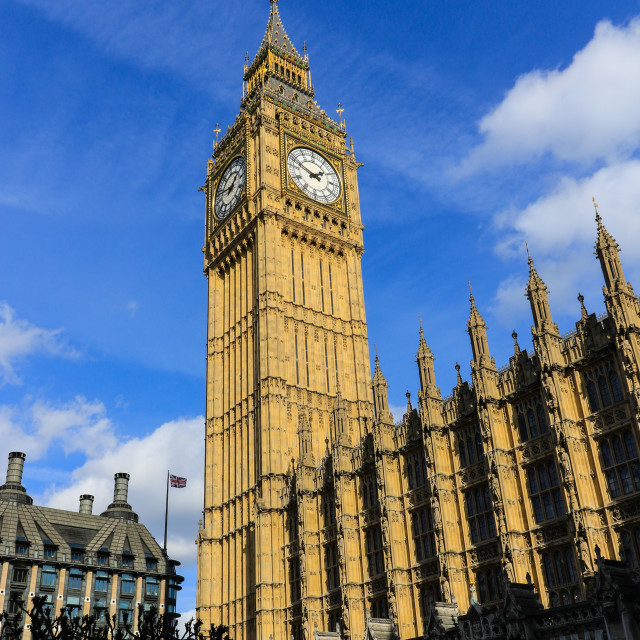 """Big Ben and part of the house of parliament"" stock image"