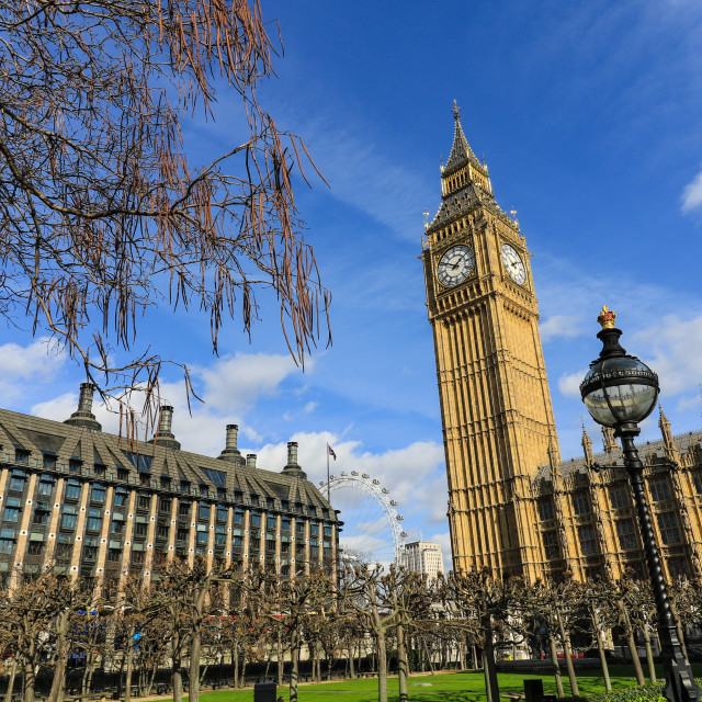 """Big Ben with in the background the London Eye"" stock image"