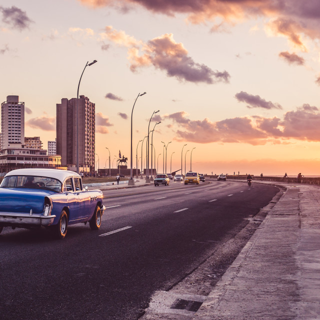 """sunset at Malecón"" stock image"