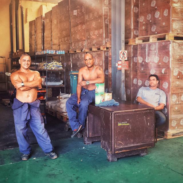 """""""men at work"""" stock image"""