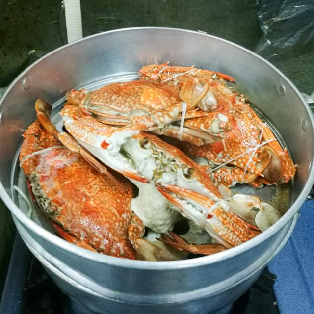 """Stream big crabs on the pot"" stock image"