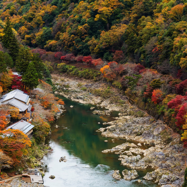 """Hozu River in autumn, Arashiyama, Japan"" stock image"