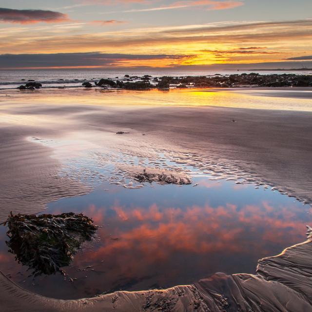 """""""Reflecting The Sunrise."""" stock image"""