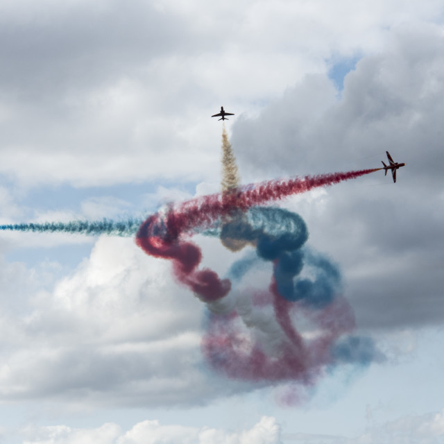 """Abstract Art Courtesy of Red Arrows"" stock image"
