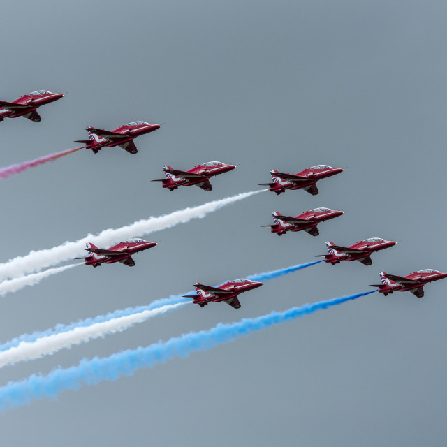 """Red Arrows Full Team (I)"" stock image"