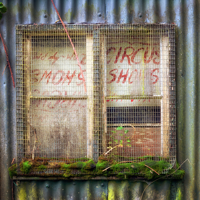 """Old boarded up window"" stock image"