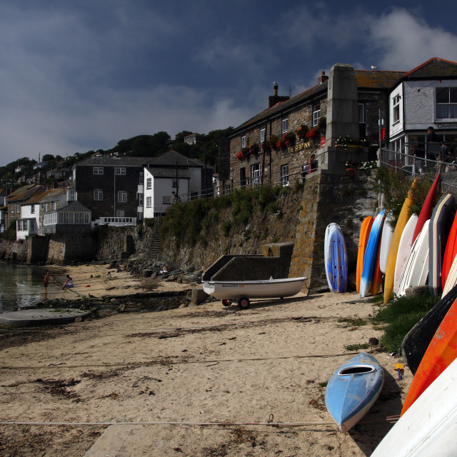 """""""The historic fishing village of Mousehole in Cornwall in England"""" stock image"""