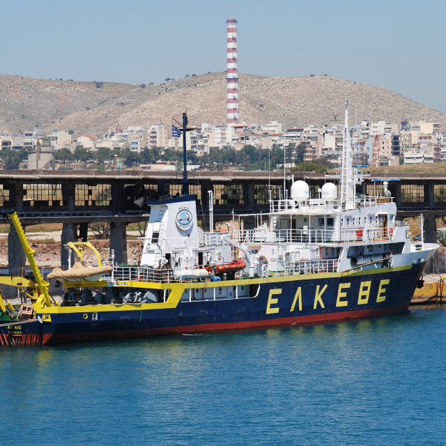 """Research Vessel Aegaeo, Piraeus"" stock image"