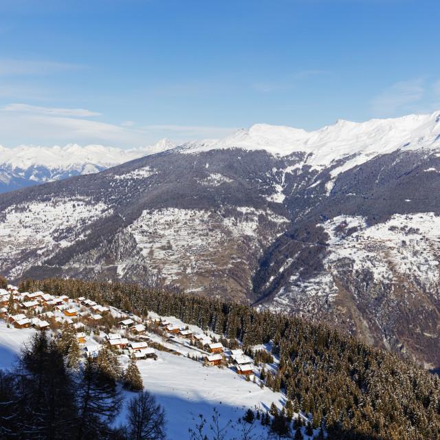 """Europe, The Alps, Switzerland, Valais, 4 Vallees, La Creta (Verbier)"" stock image"
