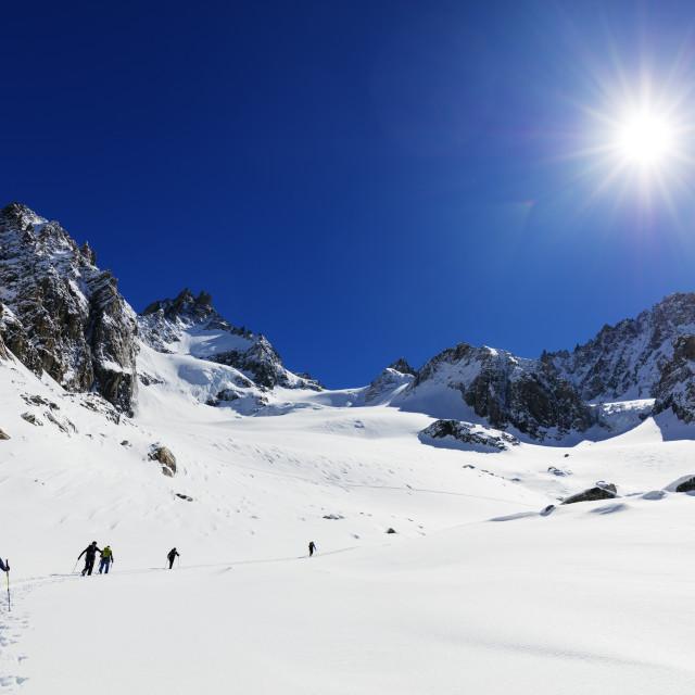 """Europe, The Alps, France, Haute Savoie, Rhone Alps, Chamonix, ski touring on..."" stock image"