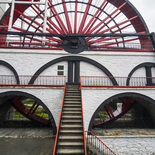 """The Great Laxey Wheel, Isle of Man, crown dependency of the United Kingdom"" stock image"