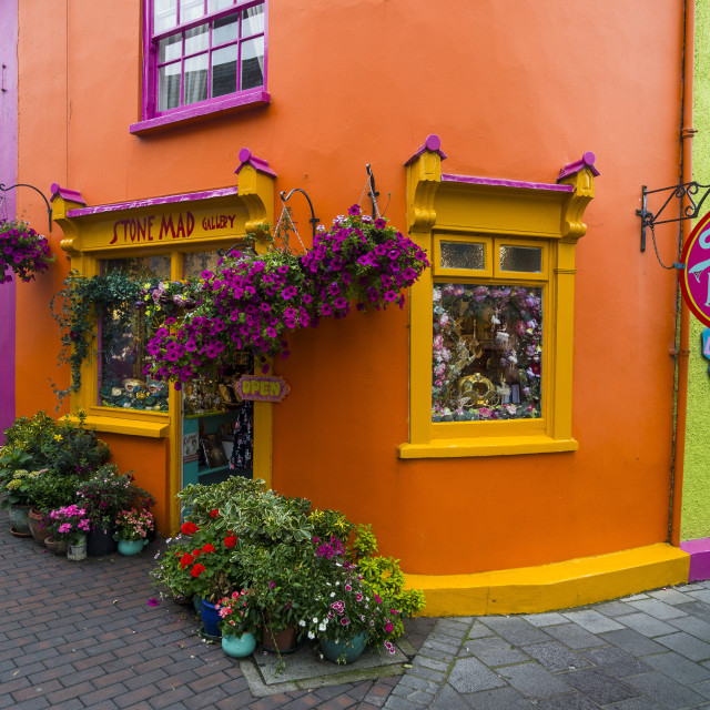 """Brightly coloured shops in Kinsale, Republic of Ireland"" stock image"