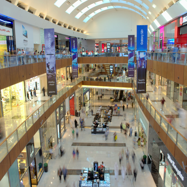 """Dubai Mall, the largest shopping mall in the world with 1200 shops, part of..."" stock image"
