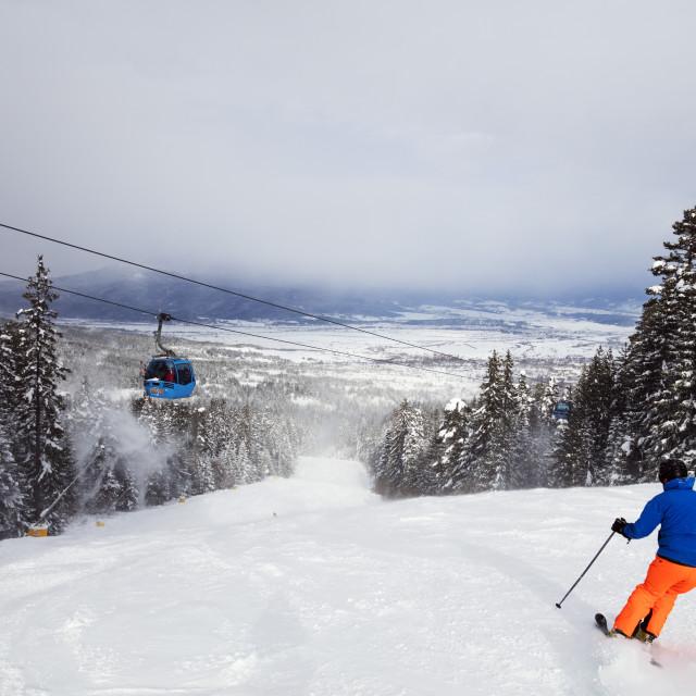"""Europe, Bulgaria, Bansko resort, piste skiers"" stock image"